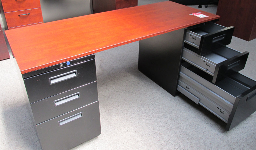 Ucs 2460dpchy 24 X 60 Used Double Pedestal Desk With Cherry Top