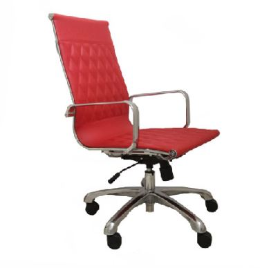 WSM ANNHIGHRED Annie High Back Red Leather Chrome Swivel Office Chair