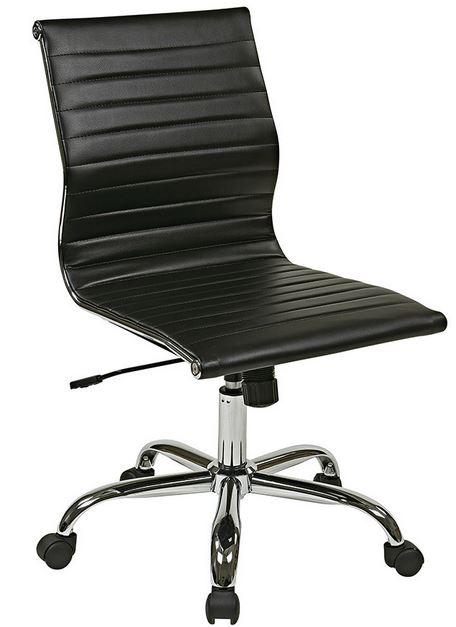 DSC EKOABLK Black U0026 Chrome Armless Classic Desk Chair